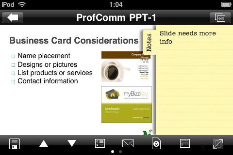 Dataviz Documents To Go for iPhone view PowerPoint slide