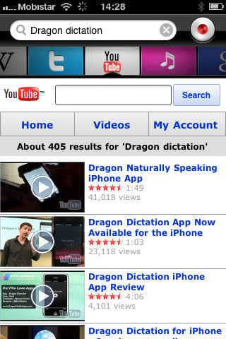 Dragon Search for iPhone