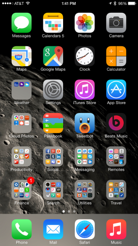 iOS 8 home screen