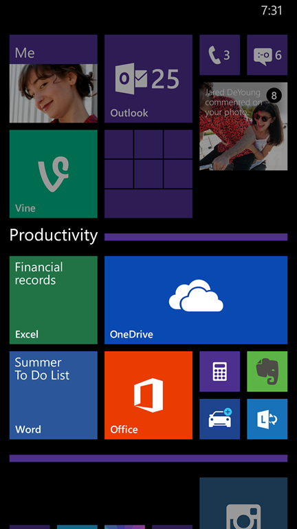 Windows Phone 8.1 Update 1 screenshot