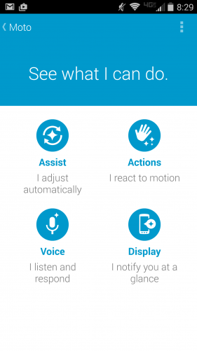 Moto Assist, Actions, Voice, and Display
